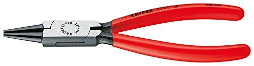 KNIPEX 22 01 160 Rundzange schwarz atramentiert mit Kunststoff überzogen 160 mm