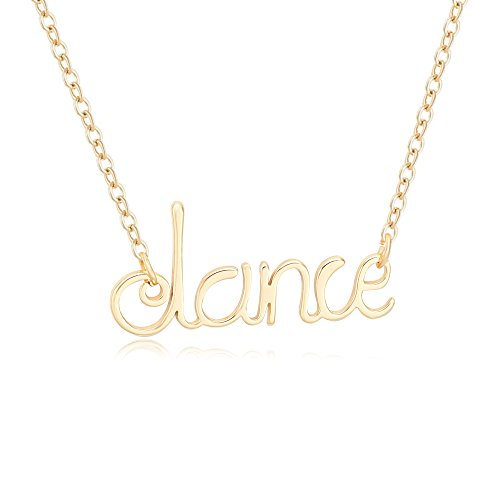 (MANZHEN Charm Script Dance Pendant Necklace for Dancer Girls Gifts)