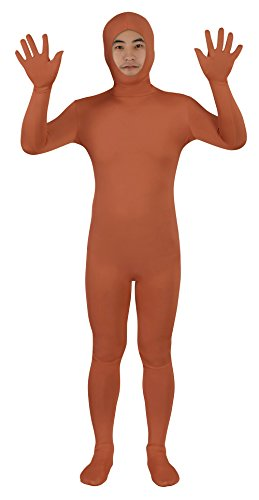 Sheface Spandex Open Face Zentai Suit Halloween Costumes (X-Large, Brown)