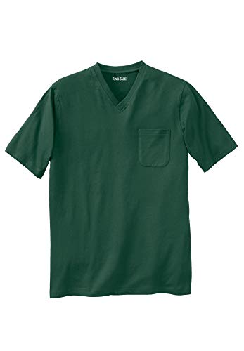KingSize Men's Big & Tall Lightweight Cotton V-Neck Tee Shirt with Pocket,
