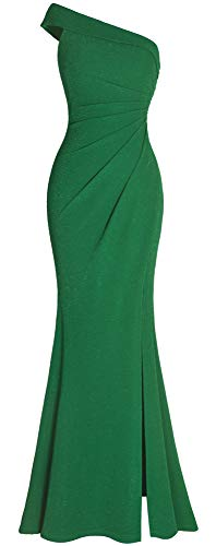 Fazadess Women's Ruched One Shoulder Side Split Slim Formal Evening Party Dress