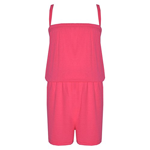 Kids Girls Plain Neon Pink Color Playsuit Trendy All in One New Jumpsuit 5-13 Yr by A2Z 4 Kids®