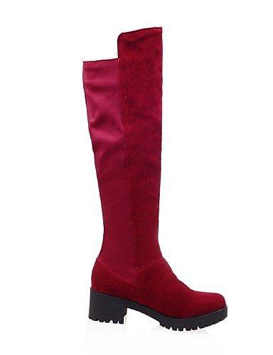 Uk6 Cn40 Robusto C Mujer Cn36 Eu36 Botas Red Vestido Negro Uk4 Zapatos Punta Moda Rojo Marrón Casual La Vellón us6 Tacón Redonda us8 5 Xzz A Brown 5 Eu39 De xn1qwSIg