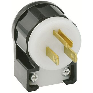 - Leviton 5266-CA 15 Amp, 125 Volt, Angle Plug, Straight Blade, Industrial Grade, Grounding, Black-White (10 Pack)