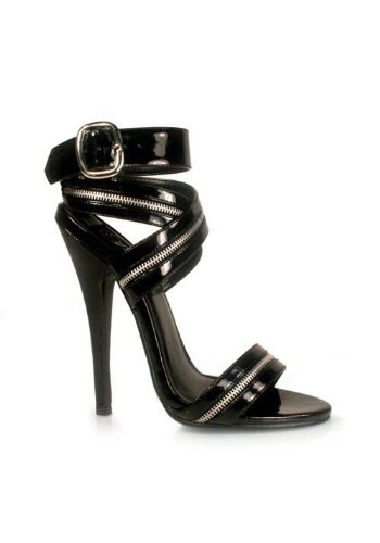 Wrap Around Zipper (Women's 6 Inch Zipper-Inlaid Wrap-Around Sandal (Black;14))