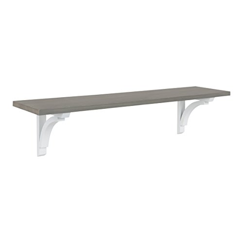 Kate and Laurel Corblynd Traditional Wood Wall Shelf, 36 inches, Gray with White Corbels