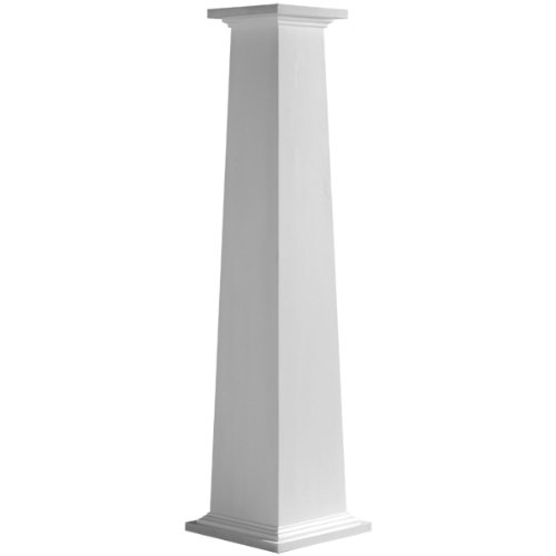 "Price comparison product image Endura-Craft Craftsman Column Wrap (Cellular PVC) Tapered, Smooth, Standard Base & Capital, 10"" Square Bottom Shaft x 6"" Square Top Shaft x 8' Overall Height"