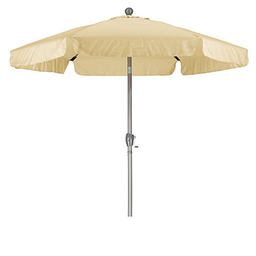California Umbrella 7.5' Round Aluminum Pole Fiberglass Rib Umbrella, Crank Open, Push Button 3-Way Tilt, Champagne Pole, Antique Beige 7.5' Crank