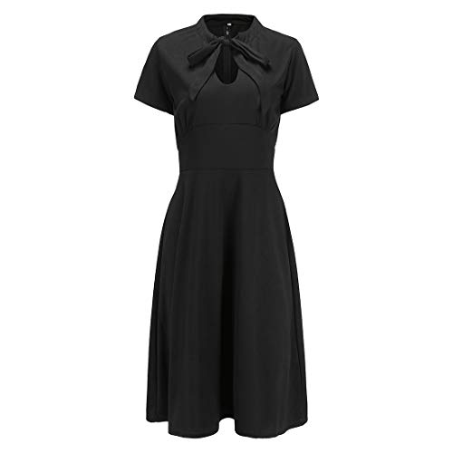 Ez-sofei Women's 1940s Vintage Keyhole Bowtie Front Cocktail Swing Dress M Black (Bow 1940s)