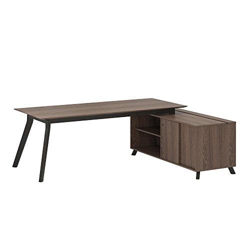 (Ameriwood Home 9291196COM AX1 L-Shape Desk, Medium Brown)
