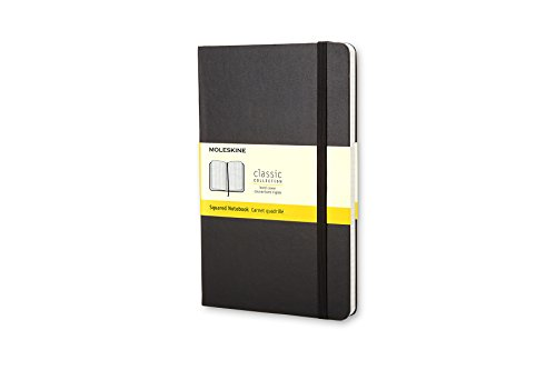Moleskine Classic Notebook, Large, Squared, Black, Hard Cover (5 x 8.25)