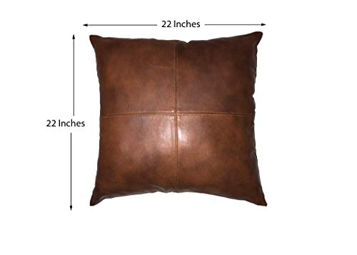 Azrah Traders 100% Lambskin Leather Pillow Cover – Sofa Cushion Case – Decorative Throw Covers for Living Room & Bedroom…