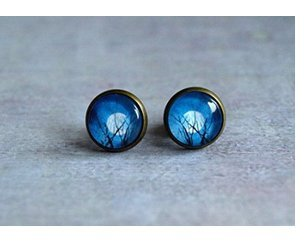 Winter Tree Moon Earrings Studs-navy Blue White Studs-ear Studs-post Earrings -Antique Brass Studs- Tree Jewelry Midnight Gem Christmas