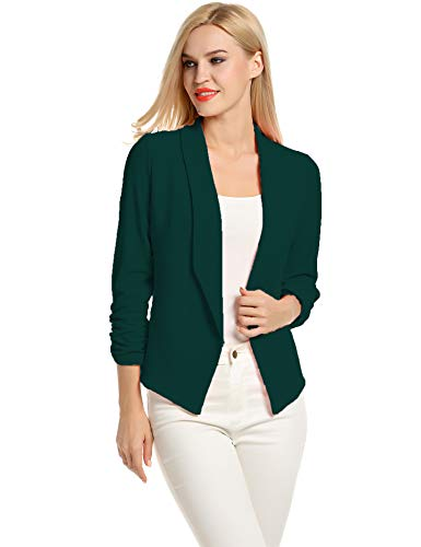 Casual Work Business Blazer for Women bleizer Sport Jacket (Dark Green, M) ()