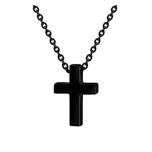 Xianli Wang Tiny Simple Cross Pendant for Children Boy Girl Stainless Steel Small Necklace (Black-Age Under 10) -