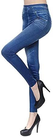 Litthing Leggings Vaqueros de Entretiempo para Mujer Encaje de Vaquero Jeans De Moda Popular Ligero Alta Cintura Elástico Abrigado Zanquivano