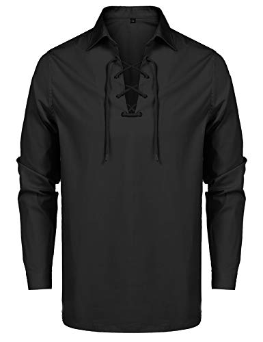 URRU Men's Renaissance Shirt Pirate Shirt Halloween Costume Accessory for Men Black XXL -