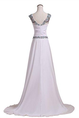 de Vestidos para Callmelady Fiesta Largos Blanco Vestidos Noche Mujer de Elegantes 5gqdqFw
