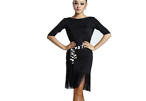 Motony Women Latin Dance Dress New Style Latin Dance Costume Adult Dance Practice Performance Wear Black (Dance Costumes Performance Wear)