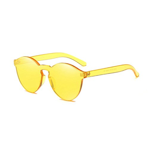 QingFan Fashion Round Vintage Cat Eye Mirrored Metal Frame Women Sunglasses (Yellow, - Sunglasses Rimless