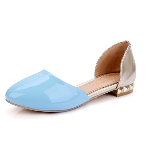 LongFengMa Flats Patent Women's Toe Blue Fashion Sandals Closed wFTvfOwq