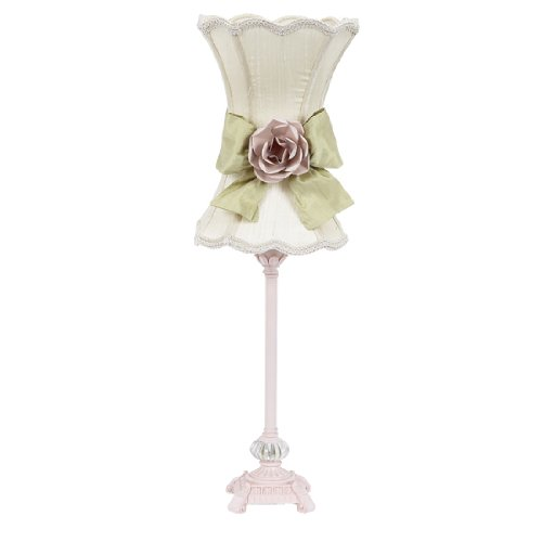 Jubilee Collection 8630-3610-602-MG2001 Scallop Hourglass Ivory Shade with a Green Bow and Light Pink Rose Magnet on Base and Pink Scroll Glass Ball, Medium