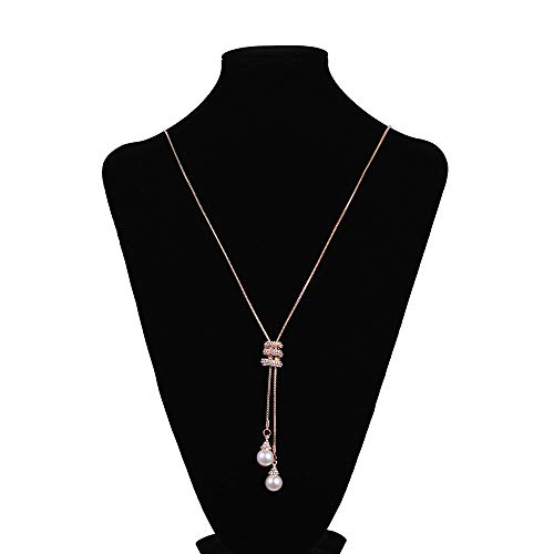 n Neckwear Charm Crystal Pearls Pendant Necklace Luxury Long Chocker ()