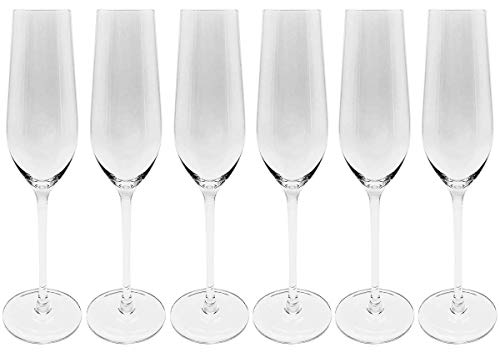 """Crystal Champagne Flutes by CooZest. Champagne Glasses, 10"""" tall, 7 oz. Lead-Free. Set of 6 - Wedding Champagne Toasting Flutes"""