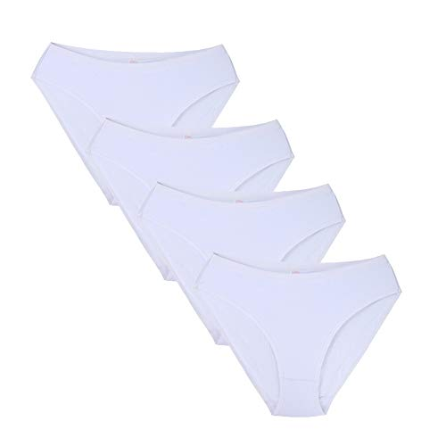 Closecret Women Comfort Cotton Stretch High Cut Briefs Panties (M(Waist:29.5-32.5inch), 4 White)