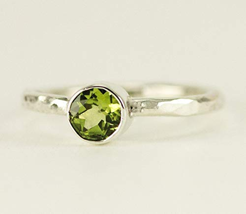 Peridot Sterling Stack Ring - August Birthstone - Custom Band Choices