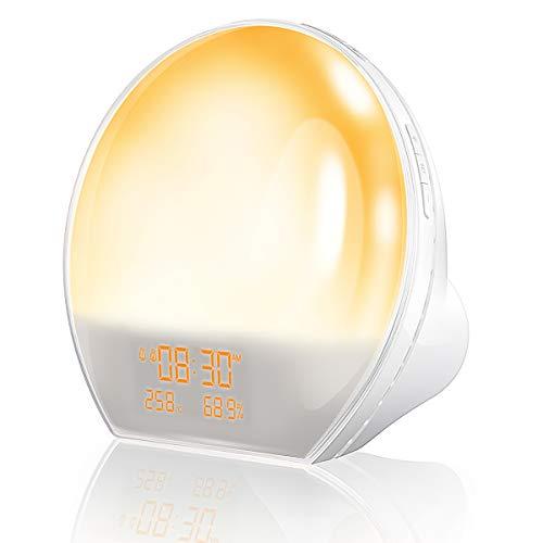 Ommani Wake up Light, Sunrise Alarm Clock with 7 Colored Sunrise Simulation and Sunset Fading Night Light, FM Radio, Temp Humidity Monitor, USB Output Interface