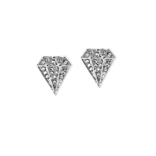 Silver Tone 13mm Diamond Shape Iced Out Clear Cz Crystal Stud Ear Earrings
