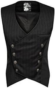 Punk Rave Herren Steampunk Weste Gothic Viktorianische Weste V-Ausschnitt Slim Fit Einreihig Paisley Kleid Weste