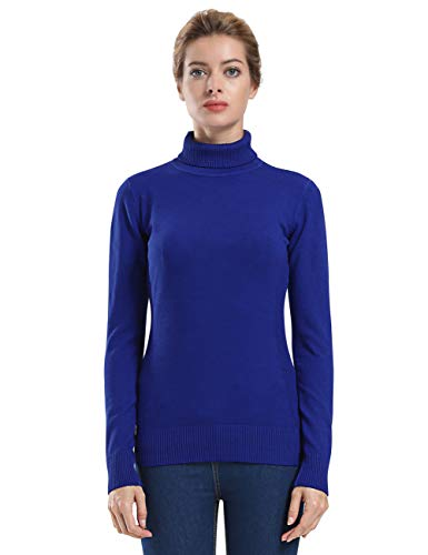 ninovino Women' s Turtleneck Sweater Winter Lightweight Ribbed Long Sleeve Navy M (Turtle Nylon Sweater)