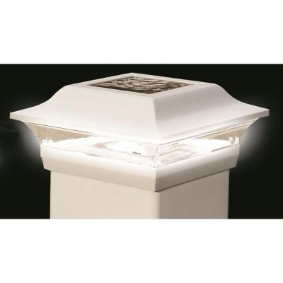 Outdoor White Aluminum Imperial Solar Post Cap  4 In. X 4 in