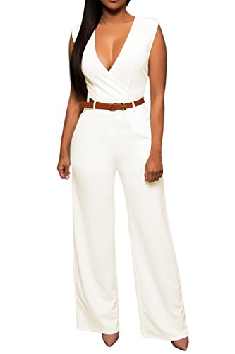 Pink Jumper V-neck - Pink Queen Womens Jumpsuits White V Neck Wide Leg Pants Jumpsuits Rompers S White Small