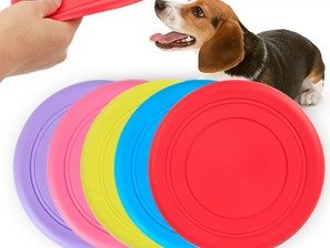 Soft Silicone Pet Toy Frisbee Flying Disc Tooth Resistant Outdoor Dog Training Multiple Colors (3 Pack)