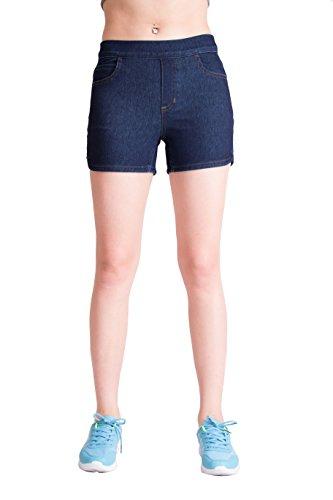 Cozy Blue -Dark Blue Short Super Stretch Knit Denim for Women XS Pull On Spandex Shorts