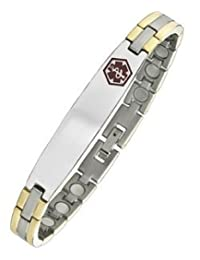 Men's Two-Tone Steel Magnetic Medical Bracelet