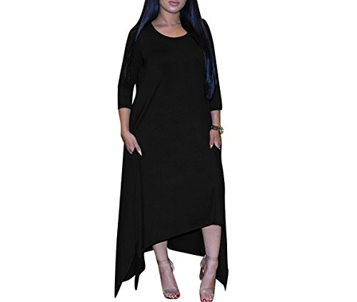 Lkous Women's Long Sleeve Casual Asymmetrical Handkerchief Maxi Dress with Pocket (L, Black)