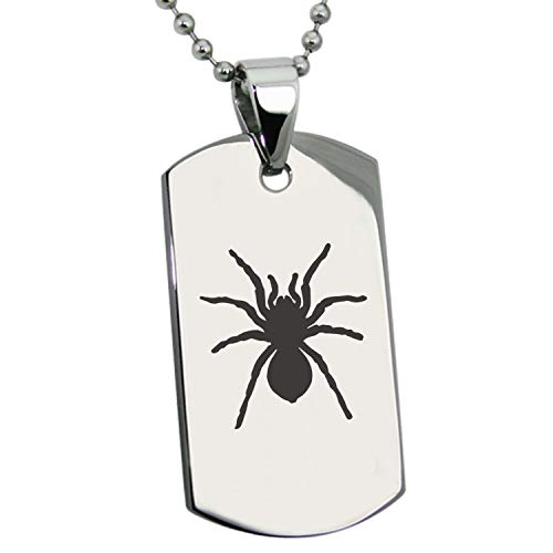 Stainless Steel Tarantula Spider Dog Tag Pendant Necklace