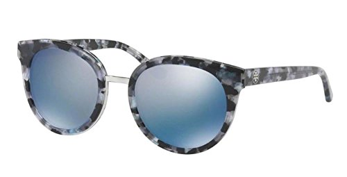 Tory Burch Women's 0TY7062 Black Pearl Tort/Blue Flash Polarized Mirror Sunglasses by Tory Burch