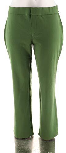 Liz Claiborne NY Straight Leg Ponte Knit Pant Dark Olive XL # A255514