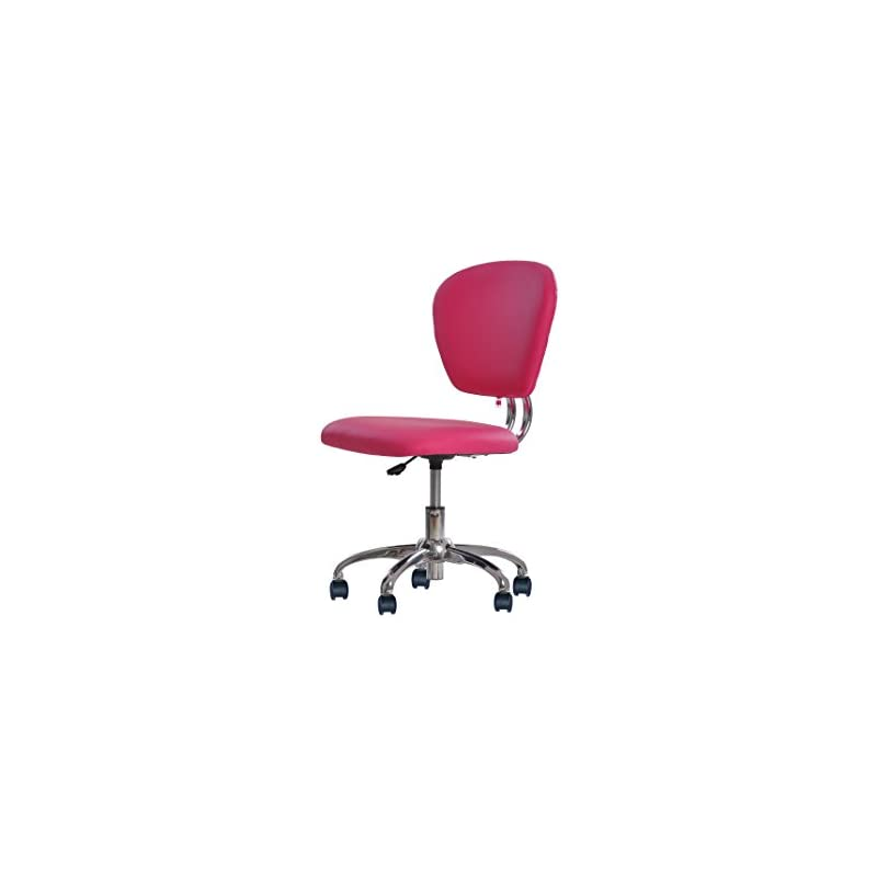 Pink PU Leather Mid-Back Task Chair Offi