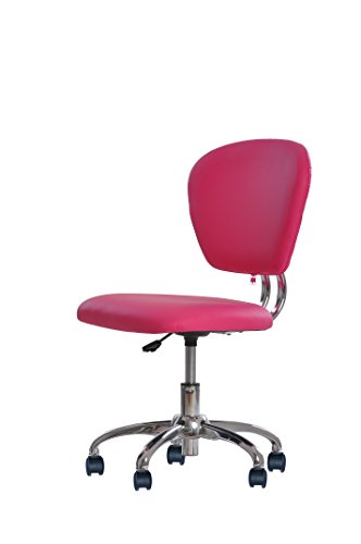 New Pink PU Leather Mid-Back Mesh Task Chair Office Desk Task Chair H20 by BestOffice
