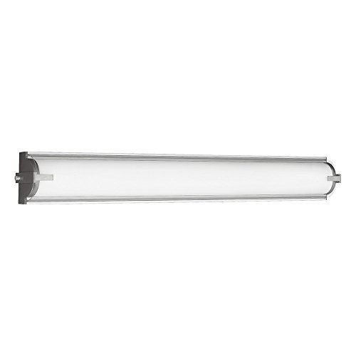 Sea Gull Lighting 4635791S-04 Braunfels LED Bath or Wall Light Fixture with Clear Acrylic Diffuser and Frosted Acrylic Shade, Satin Aluminum Finish
