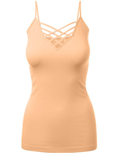 HATOPANTS Lattice Front Seamless Cami with Adjustable Bra Strap Tops Peach (Peach Lattice)