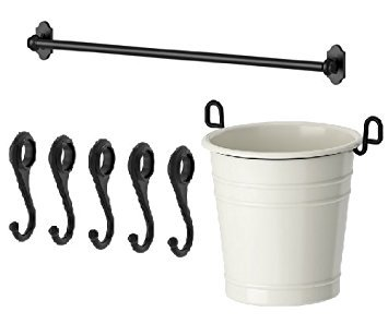 - Ikea Steel Kitchen Organizer Set, 31-inch Rail, 5 Hooks, Flatware Caddy, Black, White