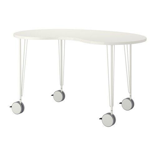 IKEA HISSMON / Krille - Mesa, anacardo forma, blanco - 140x75 cm ...
