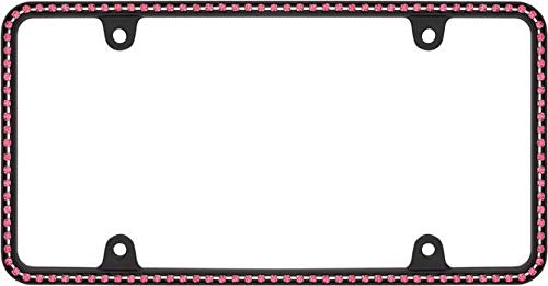 Billion_Store Diamondesque Matte Black/Hot Pink Crystals License Plate Frame Best Accessories for Tuning